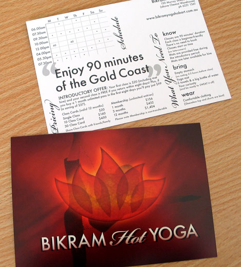 Bikram Hot Yoga postcard - Tracey Grady Design