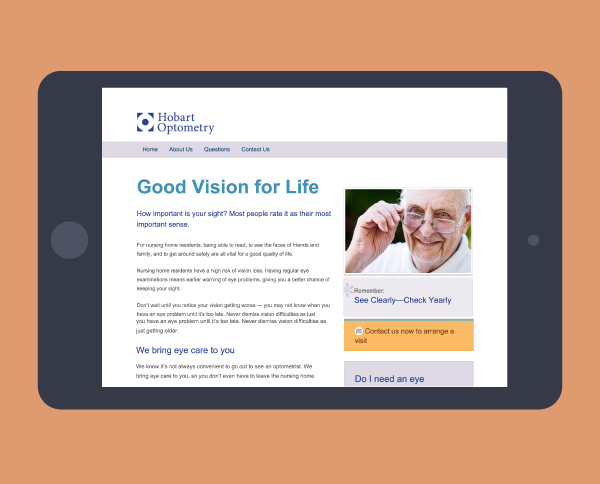 Hobart Optometry website - Tracey Grady Design
